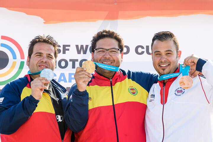 From left: Antonio Bailon, Alberto Fernandez and Aaron Heading pose with their medals after the Men's Trap final. Photo - ISSF