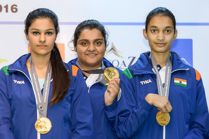Gold Medallist Team of India pose with their medals after Junior Women's 25m Pistol event at ISSF Junior World Cup