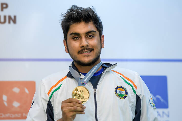 Rushiraj Barot displays his Gold medal  in the 25m Rapid Fire Pistol at ISSF Junior World Cup in Gabala.