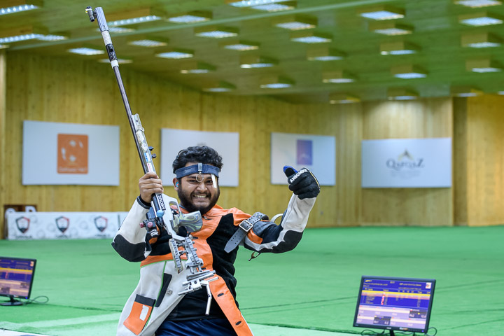 Subhankar Pramanik reacts after winning Gold in Junior Men's 50m Rifle Prone at ISSF Junior World Cup
