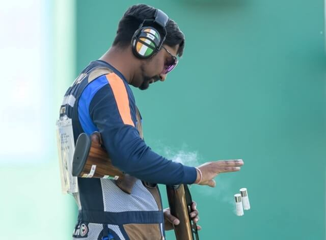 Ankur Mittal during the finals of Men's Double Trap at the ISSF World Cup - New Delhi. Photo - indianshooting.com