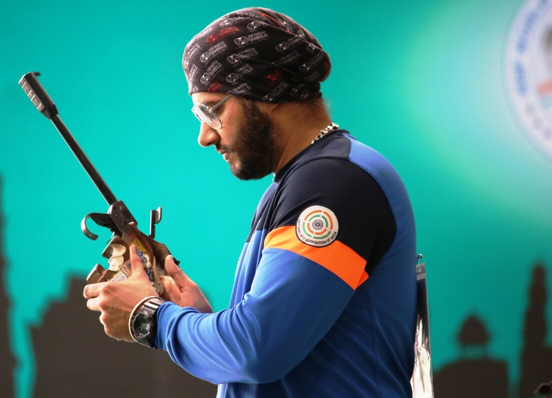 Amanpreet Singh during the finals of Men's 50m Pistol at ISSF World Cup - New Delhi. Photo - indianshooting.com