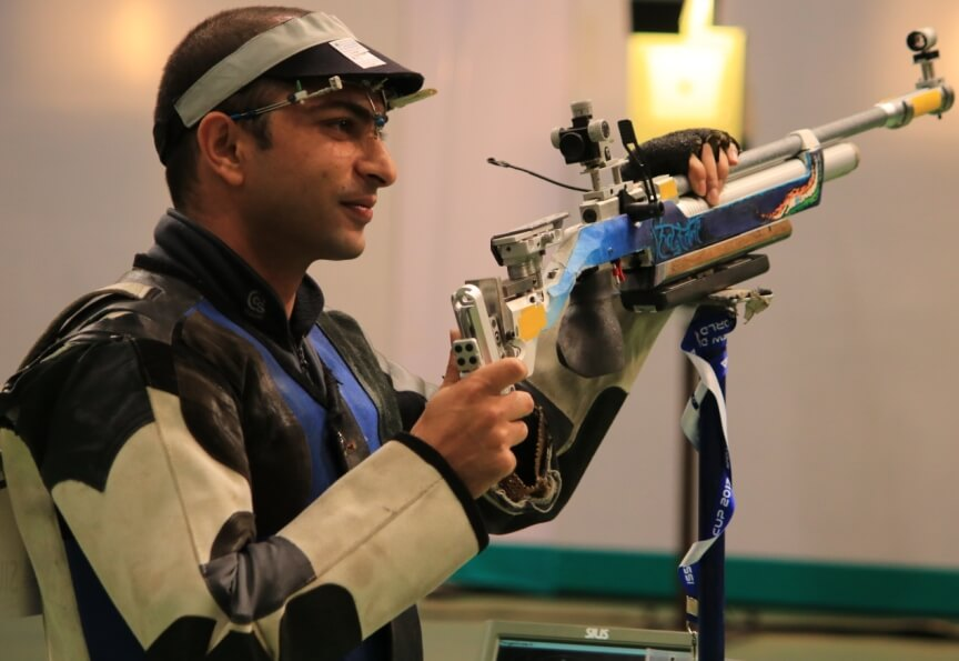 Ravi Kumar in action during the Finals of Men's 10m Air Rifle at ISSF World Cup. Photo - indianshooting.com