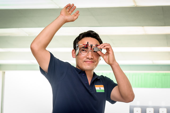 Jitu Rai after winning Gold in Men's 50m Pistol at ISSF World Cup in Bangkok.