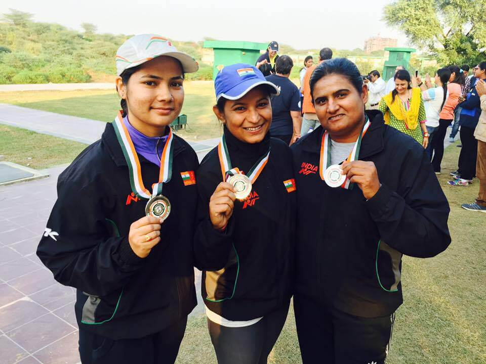 Army team led by Seema Tomar won the silver in team event.